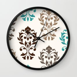 Heart Damask Art I Browns Teal Cream Wall Clock