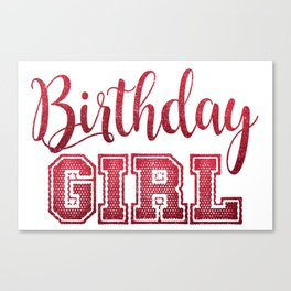 Red Glitter Birthday Girl Celebration Trendy Chic Canvas Print
