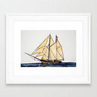 sail Framed Art Prints featuring sail by The Traveling Catburys