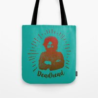 grateful dead Tote Bags featuring Grateful Dead, Jerry Garcia by Burnish and Press