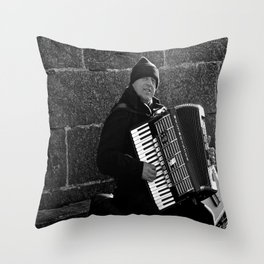 Accordion Busking on Howth Bay Throw Pillow