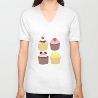 cupcakes V-neck T-shirts featuring CUPCAKES by Sarah and Bree