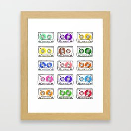 Rainbow Cassette Tapes Framed Art Print