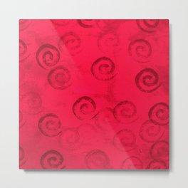Festive Red Spirals Metal Print