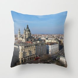 Panoramic view of Budapest and St. Stephen Basilica in Hungary Throw Pillow