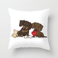 daschund Throw Pillows featuring Valentine's Day Love Daschund Illustration by Li Kim Goh