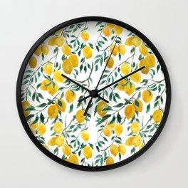 watercoor yellow lemon pattern Wall Clock