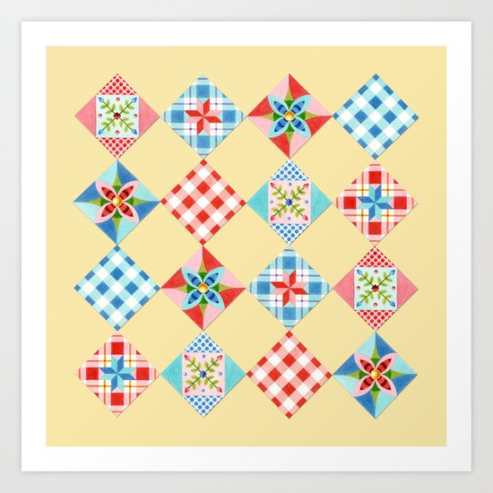 Country Days Patchwork Design Art Print