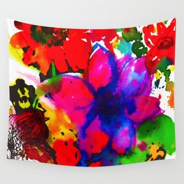 Inky Flowers Wall Tapestry
