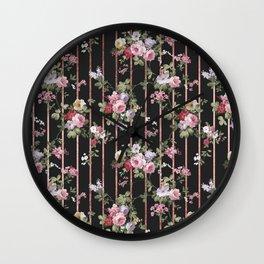 Elegant faux rose gold black stripes vintage blush pink lavender floral Wall Clock