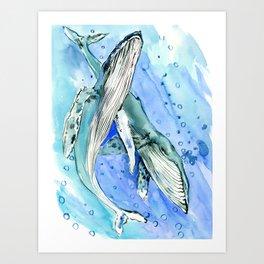 Humpback Whales, two whales ocean underwater scene beach Art Print