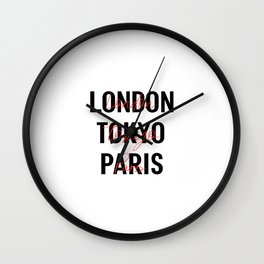London Tokyo Paris : Cities Wall Clock
