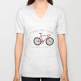 Chicago, Illinois by I Bike Unisex V-Neck