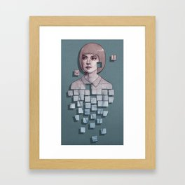 Portrait of pixelating girl Framed Art Print