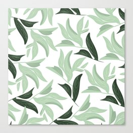 Abstract modern green pastel color leaves floral Canvas Print