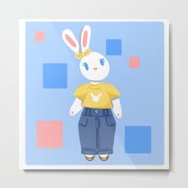 Mom Jeans Bunny Rabbit Metal Print