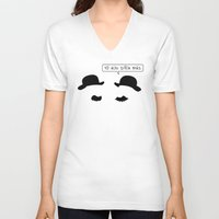 tintin V-neck T-shirts featuring Tintin: Thomson and Thompson by dutyfreak