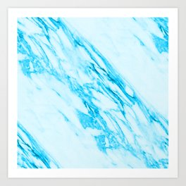 Blue and Cream Marble Pattern Art Print