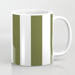 Dark Terrarium Moss Green and White Wide Vertical Cabana Tent Stripe Coffee Mug
