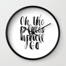 oh the places you'll go, travel quote,kids gift,nursery decor,quote prints,kids room Wall Clock