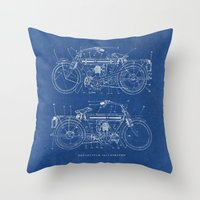 blueprint Throw Pillows featuring Motorcycle blueprint by marcusmelton