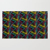 80s Area & Throw Rugs featuring Neon 80s Pattern by Idle Amusement