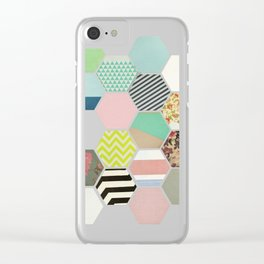 Florals and Stripes Clear iPhone Case