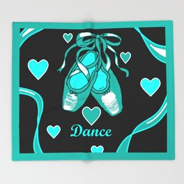 Love to Dance Teal Ballet Shoes Throw Blanket
