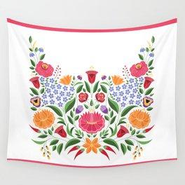 Hungarian folk pattern – Kalocsa embroidery flowers Wall Tapestry