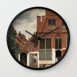"""Johannes Vermeer """"View on Houses in Delft (also known as 'The Little Street')"""" Wall Clock"""