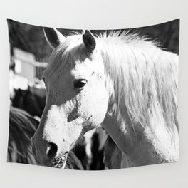 White Horse-B&W Wall Tapestry