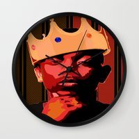 kendrick lamar Wall Clocks featuring King Kendrick by UnifiedGlory