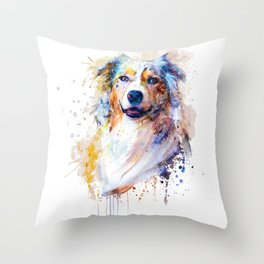 Australian Shepherd Portrait Throw Pillow