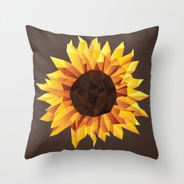 Polygonal Sunflower Throw Pillow