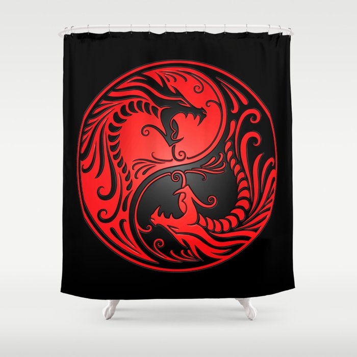 Yin Yang Dragons Red And Black Shower Curtain By Jeffbartels
