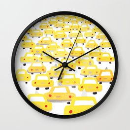 Taxis in Traffic Wall Clock