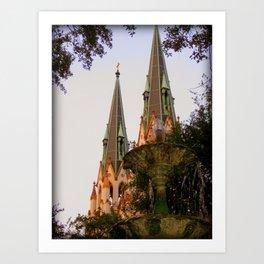 St. Johns Cathedral, Savannah GA Art Print
