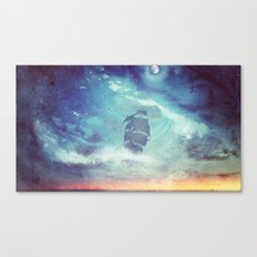 Surreal Pirate Ship // Abstract Space Wave // Pirate Galaxy Canvas Print
