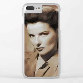 Hollywood Legends, Katharine Hepburn Clear iPhone Case