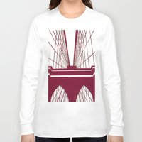 brooklyn bridge Long Sleeve T-shirts featuring Brooklyn Bridge by Melinda Zoephel