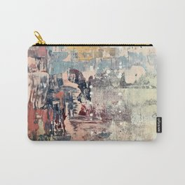 Mirage [1]: a vibrant abstract piece in pinks blues and gold by Alyssa Hamilton Art Carry-All Pouch