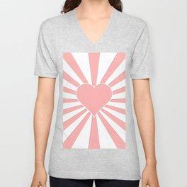 Pink Coral Valentine Love Heart Explosion Unisex V-Neck