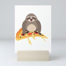 Cute and Funny Pizza Riding Sloth Mini Art Print