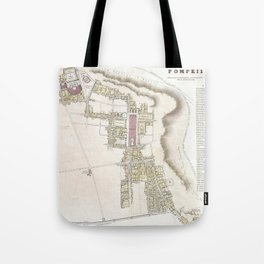 Vintage Map of Pompeii Italy (1832) Tote Bag