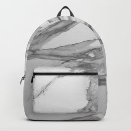 White Marble With Silver-Grey Veins Backpack