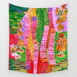Flowers and Bricks Wall Tapestry