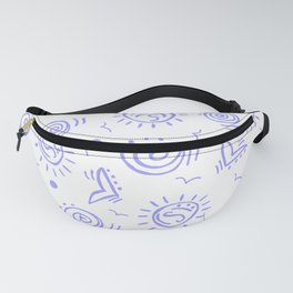 Periwinkle Pattern of Seagulls Suns and Shells Fanny Pack