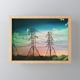 Poe's Drive (Electric Lines and Birds) Framed Mini Art Print