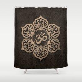 Aged Stone Lotus Flower Yoga Om Shower Curtain