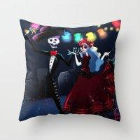 dia de los muertos Throw Pillows featuring Dia de los muertos by Lenore2411